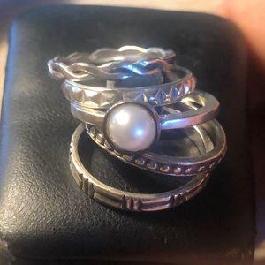 Silpada (5) Pearl Stackable Rings